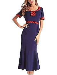 57e4608fe Phelion Para Mujer Elegante de Manga Corta Slim Fit Sirena Bodycon Mediados  de Vestidos