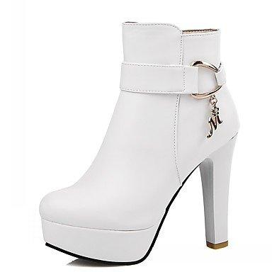 Rtry Femmes Chaussures Pu Similicuir Automne Hiver Confort Nouveauté Mode Bottes Chunky Bottes Bout Rond Bottillons / Zipper Cheville Bottes Pour Party & Amp; Us9.5-10 / Eu41 / Uk7.5-8 / Cn42