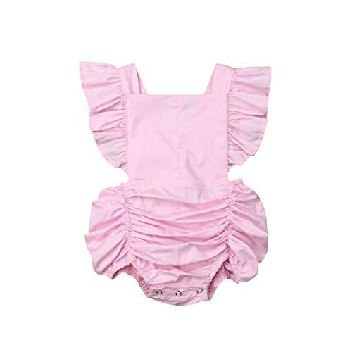 vpuquuz Strampler für Neugeborene, Baumwolle, einfarbig, gerüscht, Sommerkleidung Gr. 100 cm, Rose