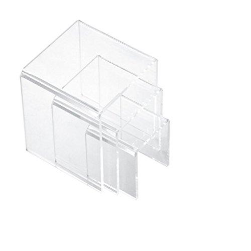 Magideal universale set da 3 espositori vetrina gioielli libri trucco di riser display in acrilico trasparente