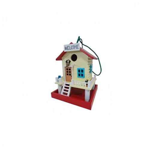 Vogelhaus aus Holz bunt bemalt WELCOME Terrasse MDF Nistkasten rot mocca blau NEU, Farbe:Rot