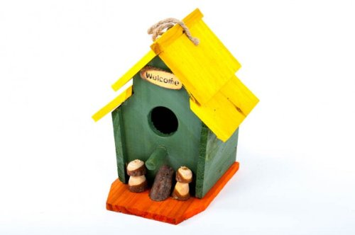 Vogel-Nisthöhle bunt aus Holz 15x15x19 cm