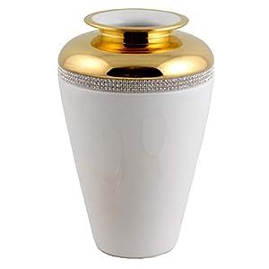 Elegante Dekovase aus weiß-goldener Keramik mit Kristallstreifen Made In Italy
