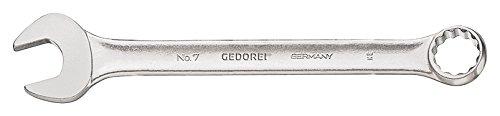 GEDORE 7 24 Ring-Maulschlüssel, DIN 3113 Form A, leicht durch schlankes Maul und schmale Maulwände, ergonomisch und handlich, Ring 15° abgewinkelt, matt Verchromt, UD-Profil, 24 mm