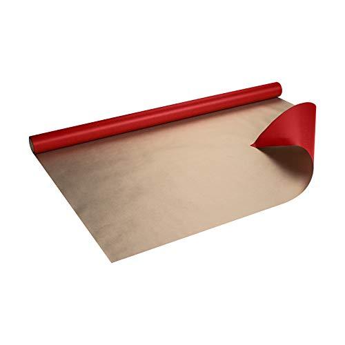 Geschenkpapier Rot und Gold, Kraftpapier, gerippt, 60 g/m², Geburtstagspapier, Weihnachtspapier - 1 Rolle 0,8 x 10 m