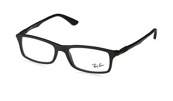 d4ce1c3f067 Rayban Rectangular Black Coloured Full Frame (RX7017-5196-54)  Amazon.in   Clothing   Accessories
