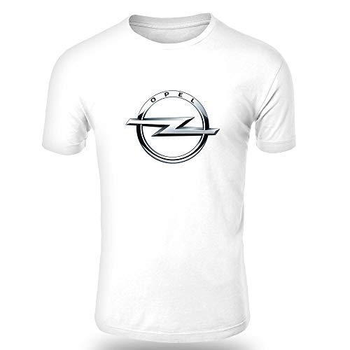 Schwarzer Herren Short Sleeve Tee (OPEL T-Shirt Logo Clipart Herren CAR Auto Tee TOP SCHWARZ WEIß Short Sleeves (WEIß, 2XL))