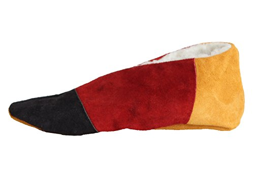 BRUBAKER Deutschland Fan Hausschuhe Schwarz Rot Gold Damen Herren Echtleder / Veloursleder mit Fell Innenfutter Gr. 42 (Color Block-echtes Leder)