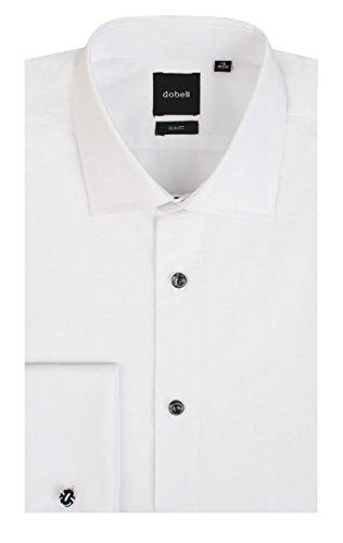 Dobell Herren Weiß Hemd Smokinghemd Abgesetzte Knöpfe Schlichte Front Weiß 15