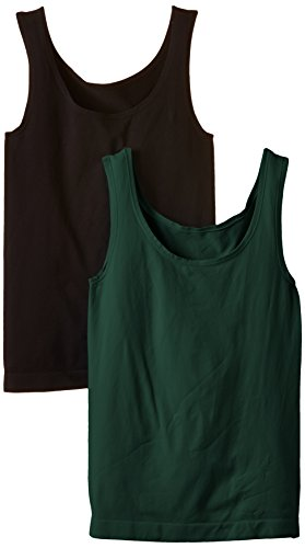 Luigi di Focenza Damen Top MIT breiten Trägern - Débardeur - Femme Vert - Grün (dunkelgrün/schwarz 727/001)