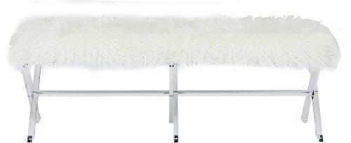 Kare Design Bank Visible Fur White, weiße Sitzbank mit Kunstfellbezug und Gestell in Acryl, Esszimmerbank, Flurbank, große Sitzfläche (H/B/T) 42x138x47cm