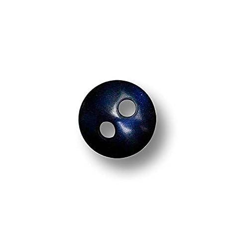 Knopfparadies - 30er Set sehr kleine, winzige, entzückende Knöpfe aus Kunststoff / Puppenknöpfe / Blusenknöpfe / perlmuttartig dunkelblau / Kunststoff / Ø ca. 7mm