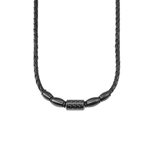 s.Oliver Herren Lederkette Edelstahl Carbon IP schwarz matt längenverstellbar 47+3cm