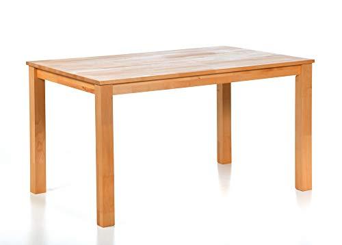 acerto Esstisch Massiv aus Buche, 140 x 90 cm * Hartwachsöl * Extrem Robust * Massivholz Buchentisch Großer Holz-Tisch rechteckig als Esszimmertisch (90 x 140 cm)