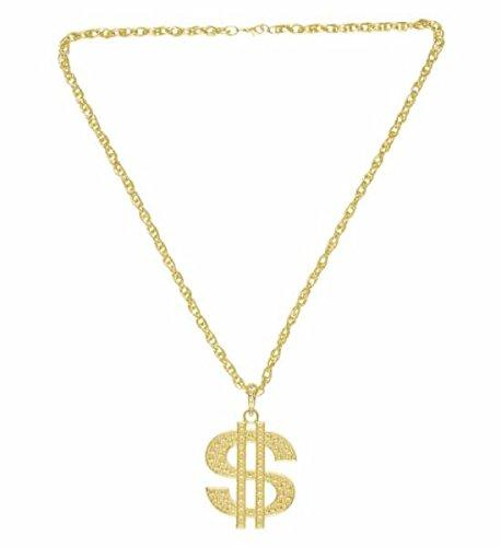 WIDMANN wid4878d–Collares con símbolo del dólar dorado, blanco, talla única