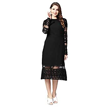 Athena Black Emboridered Lace Dress With Sheer Long Sleeves