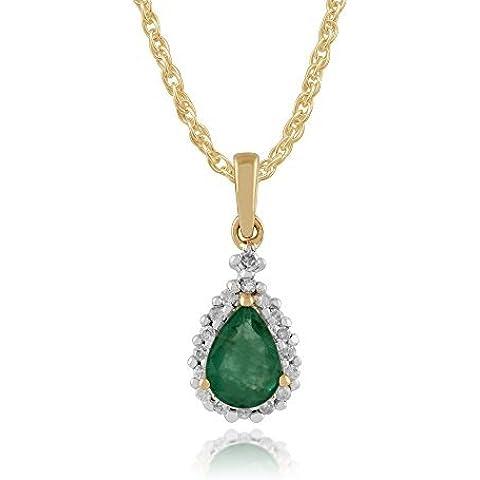 Gemondo smeraldo collana 9ct oro giallo 0,66ct Smeraldo e Diamante Pera Pendente A Grappolo su catena di