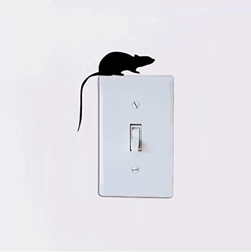 Maus Silhouette Lichtschalter Aufkleber Cartoon Ratte Vinyl Wandtattoo Schlafzimmer/Wohnkultur 8x8cm