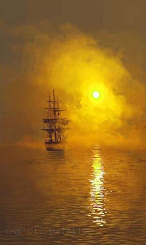 �lgemäldehandgemachtes Segelndes See-Segeltuch-Ölgemälde Des Handgemalten Abstrakten Meerblicks Des Segeltuches Des Goldes Goldenes, 50X70Cm ()