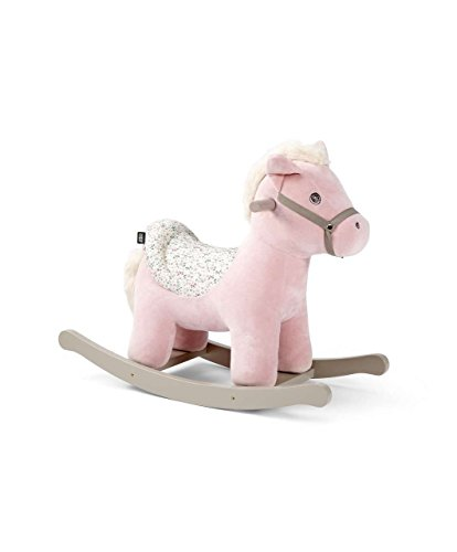 Mamas & Papas Rocking Animal, Plush Pink Rocking Horse Toy with Solid Wooden Base and Raised Seat - Livy