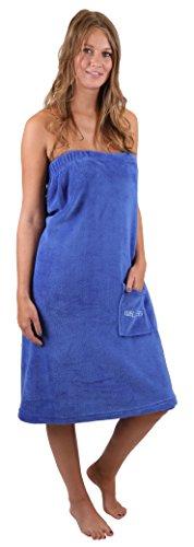 Saunakilt Sauna Kilt Damen Coralfleece Farben blau beige von Betz Größe Damen / blau