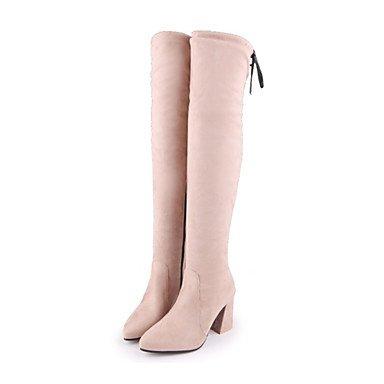 RTRY Scarpe Donna Pu Autunno Inverno Comfort Novità Moda Stivali Stivali Chunky Tallone Punta-Coscia Stivali Alti Lace-Up Per Office &Amp; Carriera US5.5 / EU36 / UK3.5 / CN35