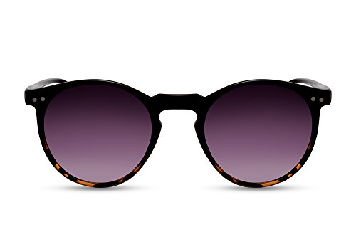 Cheapass Runde Sonnenbrille Schwarz UV-400 Vintage Retro Damen Herren