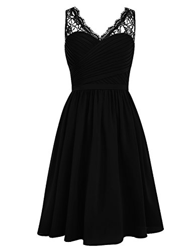Dresstells Damen Kurz Jugendlich Brautjungfernkleider Party Kleider Schwarz Größe 36