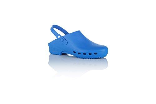 Safe Way OP-Clogs blau medizinische Arbeitsschuhe autoklavierbar Fersenriemen (36-37)