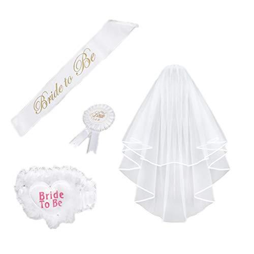 chunyang 4 Stück/Set Braut, zum Weiß Rosette Mantilla Abzeichen Sash Garter Veil Hen Night Party Be -