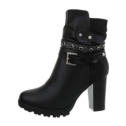 Flache Heel Stiefel (Ital-Design Damenschuhe Stiefeletten High Heel Stiefeletten Synthetik Schwarz Gr. 36)