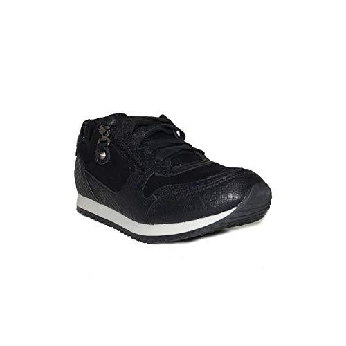 GUAPISSIMA Zap. Antelina Serpiente JM-A157 Zapatillas Bambas Casuales Mujer Gris Beige Negras Moda de Vestir