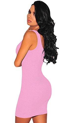 La Vogue Mini Robe Moulant Sans Manche Débardeur Décolleté Casual Clubwear Rose
