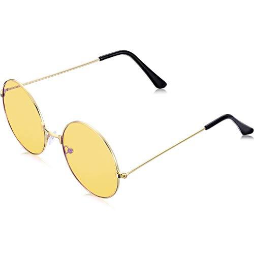 Schimer 60er 70er Ozzy Osbourne John Lennon Style Retro Hippie Rund Sonnenbrille Klassisch Retro Runde Polarisierte Sonnenbrille