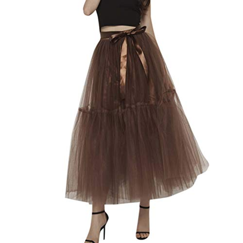 CUTUDE Damen Tütü Rock Minirock 5 Lagen Petticoat Tanzkleid Dehnbaren Mesh Tulle Tutu Skirt Bridesmaid Princess Skirt Bubble Splice Skirt Erwachsene Ballettrock Tüllrock (Kaffee, Eine Größe)