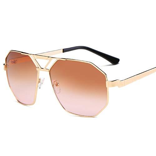 Sonnenbrille,Unisex Classic Mode Unregelmäßige Persönlichkeit Sonnenbrille Metall Frauen Männer Fashion Klare Meer Linsen Uv-Schutz Kaffee
