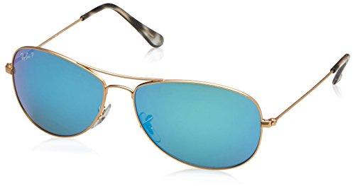 Ray-Ban Herren Sonnenbrille Rb 3562, Matte Gold/Bluepolarflash, 59