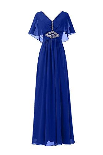 Sunvary Neu V-Ausschnitt Abendkleider Lang Chiffon Ballkleider Partykleider Brautjungfernkleider Royal Blau