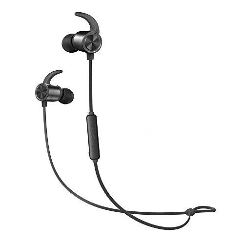 Auriculares Bluetooth TaoTronics inalámbrica, 9horas de autonomía, impermeable IPX6y resistente al sudor, mecanizado CNC, traje confortable Universal, carga OTG (Smartphone OTG compatible Requis)