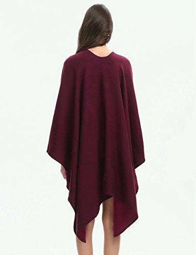 Ferand Poncho Cape Elegant für Damen, Stil Vorne Offen und Dicke für Herbst Winter Stil 1: Burgund
