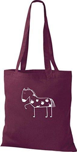 ShirtInStyle Stoffbeutel Baumwolltasche Lustige Tiere Pferd Pony Farbe Pink weinrot