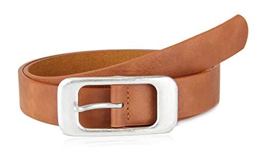 irisaa Damen Gürtel mit silberner Schnalle   Jeansgürtel in klassischen Design, 2.8 cm breit und 0.3 cm stark, Länge:85, Farbe 883:Camel - Camel Schnalle