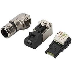 ASSMANN RJ45 Stecker für Feldkonfektionierung, T568B, 90° gewinkelt, 10 Stück, Voice Netzwerke, 10 Gigabit Ethernet, Montage in nur 60 Sekunden