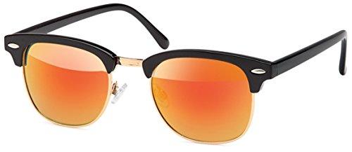 UVprotect Clubmaster Horn Optik Sonnenbrille rot W34-4