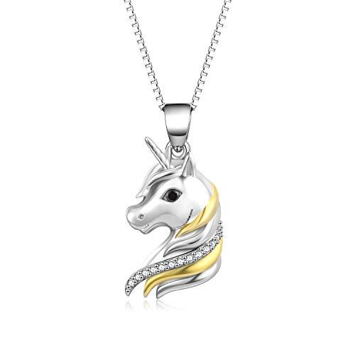 Sterling Silber Einhorn zweifarbige Anhänger Halskette für