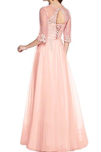 TOSKANA BRAUT Elegant Blau Damenkleider Neu 2017 Spitze Band Abendmode Lang Abendkleider Promkleider mit Aermeln Rosa