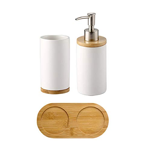 eifenspender Zahnbürstenhalter Becher mit Bambus Ständer Bad Zubehör Set - Seifenspender mit Pumpe, Zahnbürste, Becherbecher Soap Dispenser+Cup ()