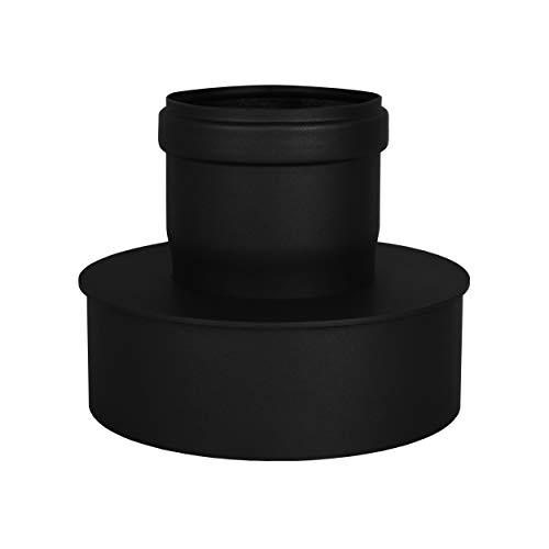 LANZZAS Pelletrohr Erweiterung von Ø 80 mm auf Ø 150 mm in schwarz Pelletrauchrohr Pelletofenrohr Pelletkaminrohr Ofenrohr