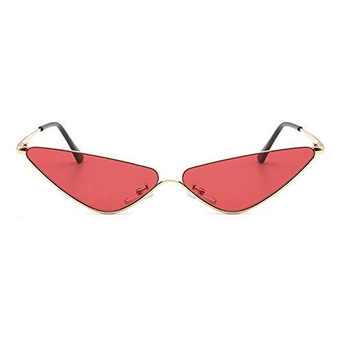 WULE-Sunglasses Unisex Persönlichkeit Gold Half Frame Cat Eye Brille UV400 Schutz Unisex Europa und Amerika Triangle Small Border Sonnenbrille (Farbe : Red)