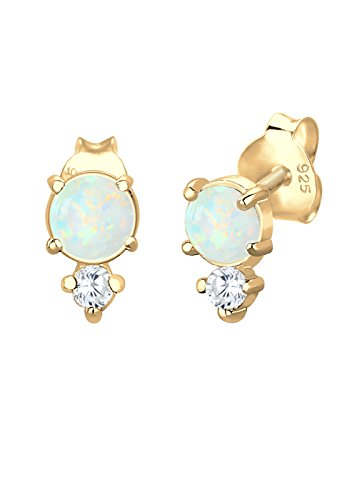 Elli Damen-Ohrstecker Silber vergoldet Opal 0302690618